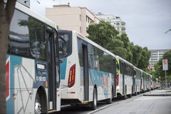 Olympic Games. Rio de Janeiro, Brazil - july 17, 2016:  Simulation arrival and bus departure in Maracanã, north of the city, as will occur at the opening Royalty Free Stock Photos