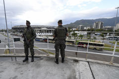 Olympic Games. Rio de Janeiro, Brazil - july 17, 2016:  Simulation arrival and bus departure in Maracana, north of the city, as will occur at the opening Stock Images