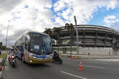 Olympic Games. Rio de Janeiro, Brazil - july 17, 2016:  Simulation arrival and bus departure in Maracana, north of the city, as will occur at the opening Stock Photo