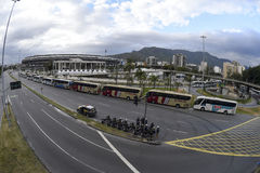 Olympic Games. Rio de Janeiro, Brazil - july 17, 2016:  Simulation arrival and bus departure in Maracana, north of the city, as will occur at the opening Stock Image