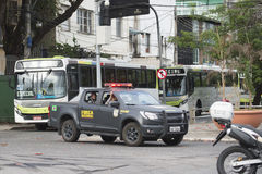 Olympic Games. Rio de Janeiro, Brazil - july 17, 2016:  Simulation arrival and bus departure in Maracana, north of the city, as will occur at the opening Stock Photography