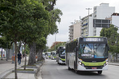 Olympic Games. Rio de Janeiro, Brazil - july 17, 2016:  Simulation arrival and bus departure in Maracana, north of the city, as will occur at the opening Royalty Free Stock Images