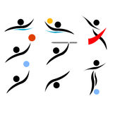 Olympic games stylized sports. Vector illustration of various sports included in the olympic games with very stylized athletes Stock Photography