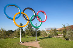The Olympic Games symbol in a park. Stock Photos