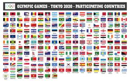 Free Olympic Games - Tokyo 2020-Participating Countries Flags Royalty Free Stock Photography - 171099017