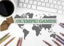 Olympic Games. White office desk Royalty Free Stock Photo