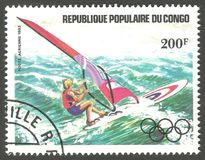 Olympic Games, Windsurfing. Congo - stamp 1984, Memorable multicolor air mail issue of offset printing with Olympic symbols, Olympic Games, Sport, Series Stock Photo