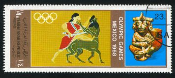 Olympic games. YEMEN - CIRCA 1968: stamp printed by Yemen, shows Olympic games, circa 1968 Royalty Free Stock Photo