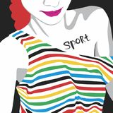 Olympic girl. Girl in the Olympic T-shirt. Vector format Stock Images