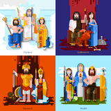 Olympic Gods 2x2 Cartoon Concept. Olympic gods 2x2 concept set of mythological characters symbolize war wealth and underworld in  cartoon style flat vector Royalty Free Stock Photos