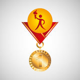 Olympic gold medal athlete torch icon Stock Photography