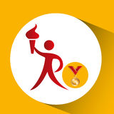 Olympic gold medal athlete torch icon Stock Photos
