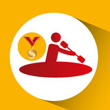 Olympic gold medal canoe rowing. Vector illustration eps 10 Royalty Free Stock Photo