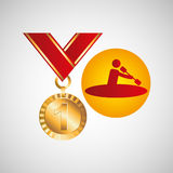 Olympic gold medal canoe rowing Stock Images