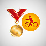 Olympic gold medal cycling icon Stock Photography