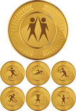 Olympic Gold Medals. Set of seven olympic style gold medals vector illustration