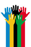 Colorful Hands. Vector illustration of hands in blue, yellow, black, green and red, on the white background royalty free illustration