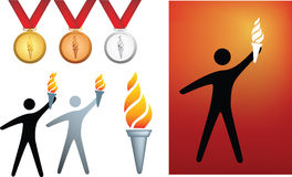 Olympic icons. Olympic series of icons and symbols of flame and medals royalty free illustration