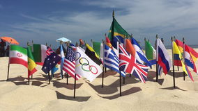 Olympic and International Flags Ipanema Beach Rio stock video footage