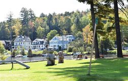 Olympic lake placid new york state usa real estate. There are some of waterfront homes in the area nearby of Olympic Lake Placid in state of New York , USA as royalty free stock photo