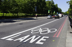Olympic lane on Park Lane, London Stock Images
