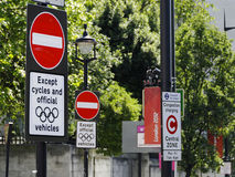 Olympic lane signs in London Stock Images