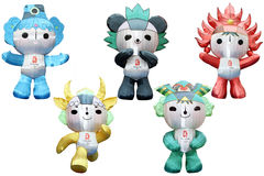 Olympic mascots in a olympic ring formation.  Royalty Free Stock Photo
