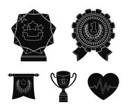 An Olympic medal for the first place, a crystal ball, a gold cup on a stand, a red pendant.Awards and trophies set. Collection icons in black style vector Royalty Free Stock Photography