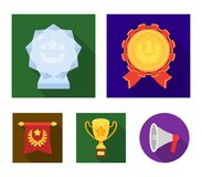 An Olympic medal for the first place, a crystal ball, a gold cup on a stand, a red pendant.Awards and trophies set. Collection icons in flat style vector symbol Royalty Free Stock Photo