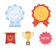 An Olympic medal for the first place, a crystal ball, a gold cup on a stand, a red pendant.Awards and trophies set. Collection icons in cartoon style vector Stock Image