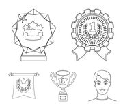 An Olympic medal for the first place, a crystal ball, a gold cup on a stand, a red pendant.Awards and trophies set. Collection icons in outline style vector Royalty Free Stock Photos