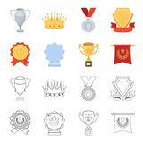 An Olympic medal for the first place, a crystal ball, a gold cup on a stand, a red pendant.Awards and trophies set. Collection icons in cartoon,outline style Royalty Free Stock Image