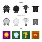 An Olympic medal for the first place, a crystal ball, a gold cup on a stand, a red pendant.Awards and trophies set. Collection icons in black, flat, monochrome Stock Image