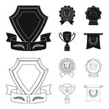 An Olympic medal for the first place, a crystal ball, a gold cup on a stand, a red pendant.Awards and trophies set. Collection icons in black,outline style Stock Images