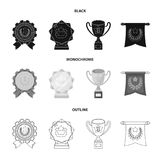 An Olympic medal for the first place, a crystal ball, a gold cup on a stand, a red pendant.Awards and trophies set. Collection icons in black,monochrome,outline Stock Photos