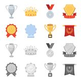 An Olympic medal for the first place, a crystal ball, a gold cup on a stand, a red pendant.Awards and trophies set. Collection icons in cartoon,monochrome style Royalty Free Stock Photo