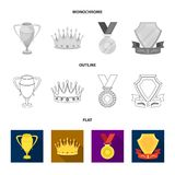 An Olympic medal for the first place, a crystal ball, a gold cup on a stand, a red pendant.Awards and trophies set. Collection icons in flat,outline,monochrome Royalty Free Stock Photography