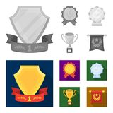 An Olympic medal for the first place, a crystal ball, a gold cup on a stand, a red pendant.Awards and trophies set. Collection icons in monochrome,flat style Royalty Free Stock Images