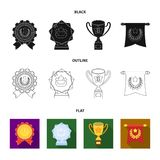 An Olympic medal for the first place, a crystal ball, a gold cup on a stand, a red pendant.Awards and trophies set. Collection icons in black,flat,outline style Royalty Free Stock Images