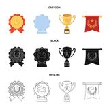 An Olympic medal for the first place, a crystal ball, a gold cup on a stand, a red pendant.Awards and trophies set. Collection icons in cartoon,black,outline Royalty Free Stock Photos