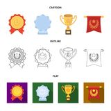 An Olympic medal for the first place, a crystal ball, a gold cup on a stand, a red pendant.Awards and trophies set. Collection icons in cartoon,outline,flat Royalty Free Stock Images