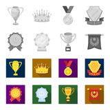 An Olympic medal for the first place, a crystal ball, a gold cup on a stand, a red pendant.Awards and trophies set. Collection icons in monochrome,flat style Royalty Free Stock Photography