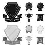 An Olympic medal for the first place, a crystal ball, a gold cup on a stand, a red pendant.Awards and trophies set. Collection icons in black,monochrom style Stock Photos