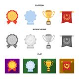 An Olympic medal for the first place, a crystal ball, a gold cup on a stand, a red pendant.Awards and trophies set. Collection icons in cartoon,flat,monochrome Stock Image