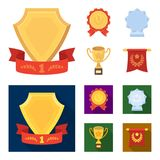 An Olympic medal for the first place, a crystal ball, a gold cup on a stand, a red pendant.Awards and trophies set. Collection icons in cartoon,flat style Stock Photography