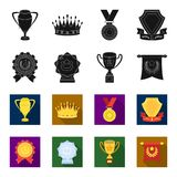 An Olympic medal for the first place, a crystal ball, a gold cup on a stand, a red pendant.Awards and trophies set. Collection icons in black,flet style vector Royalty Free Stock Photos