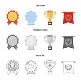 An Olympic medal for the first place, a crystal ball, a gold cup on a stand, a red pendant.Awards and trophies set. Collection icons in cartoon,outline Stock Photography