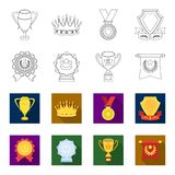 An Olympic medal for the first place, a crystal ball, a gold cup on a stand, a red pendant.Awards and trophies set. Collection icons in outline,flat style Royalty Free Stock Image