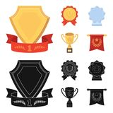 An Olympic medal for the first place, a crystal ball, a gold cup on a stand, a red pendant.Awards and trophies set. Collection icons in cartoon,black style Royalty Free Stock Images