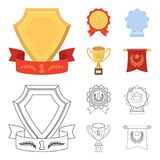 An Olympic medal for the first place, a crystal ball, a gold cup on a stand, a red pendant.Awards and trophies set. Collection icons in cartoon,outline style Stock Photography
